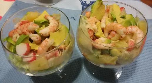 C ctel de gambas con aguacate y pi a las recetas de tita - Coctel de marisco con aguacate ...